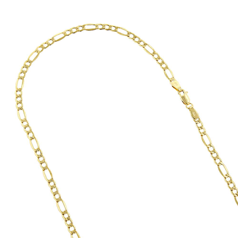 Hollow 10k Gold Figaro Chain For Men & Women 2.8mm Wide
