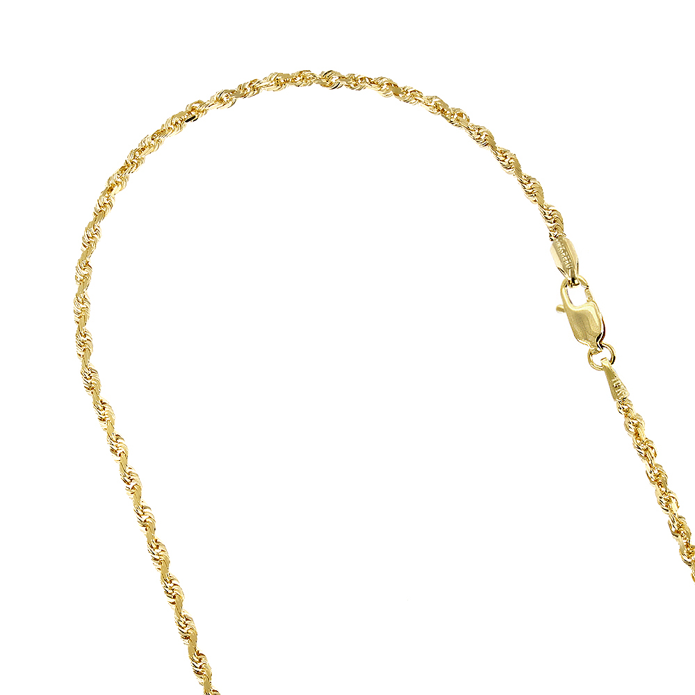 Hollow 10k Gold Rope Chain For Men & Women Sparkle 2.5mm Wide