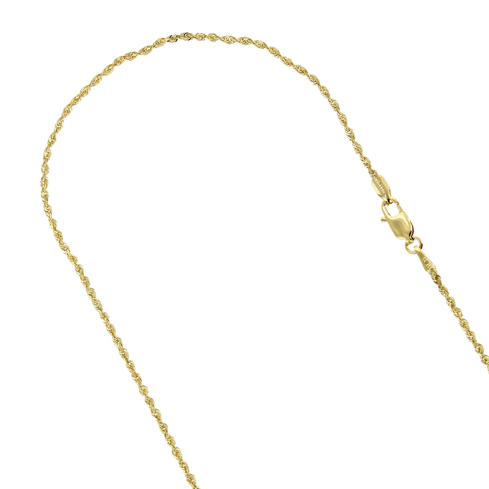 Hollow 10k Gold Rope Chain For Men & Women Sparkle 2mm Wide Yellow Image