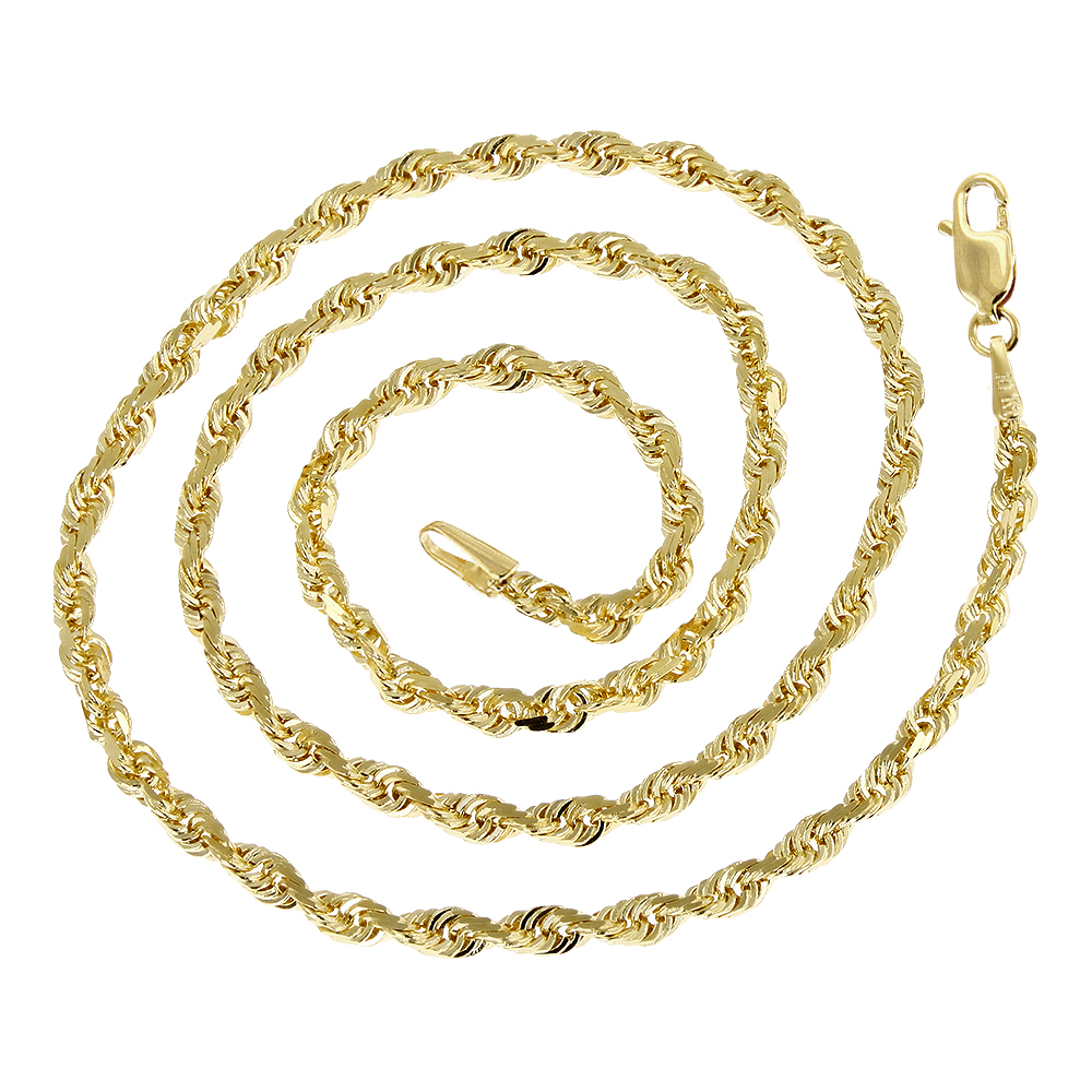 Hollow 10k Gold Rope Chain For Men & Women Sparkle 4mm Wide