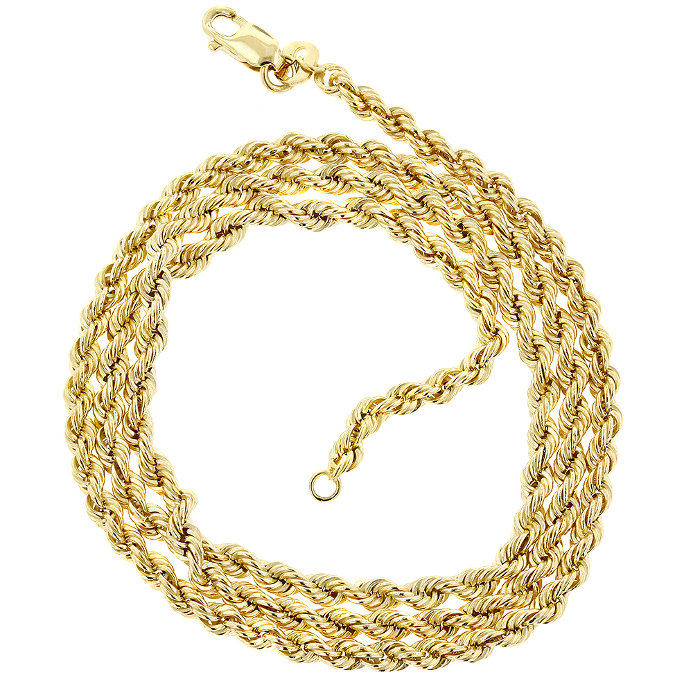 Mens Hollow 10K Gold Rope Chain Necklace with Lobster-Claw Clasp 2.7mm Main Image