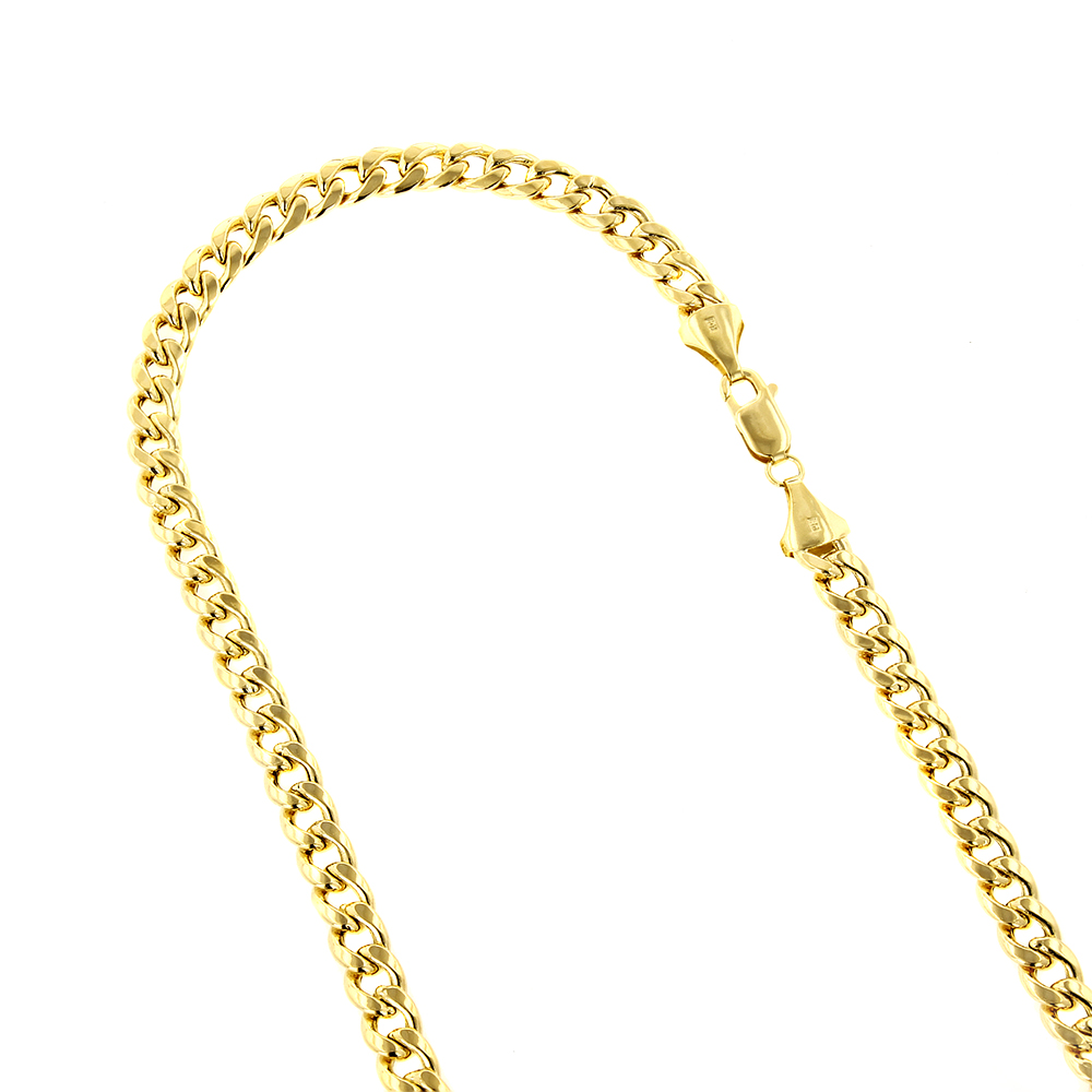 Hollow 14k Gold Cuban Link Chain For Men Miami 6.5mm Wide Yellow Image