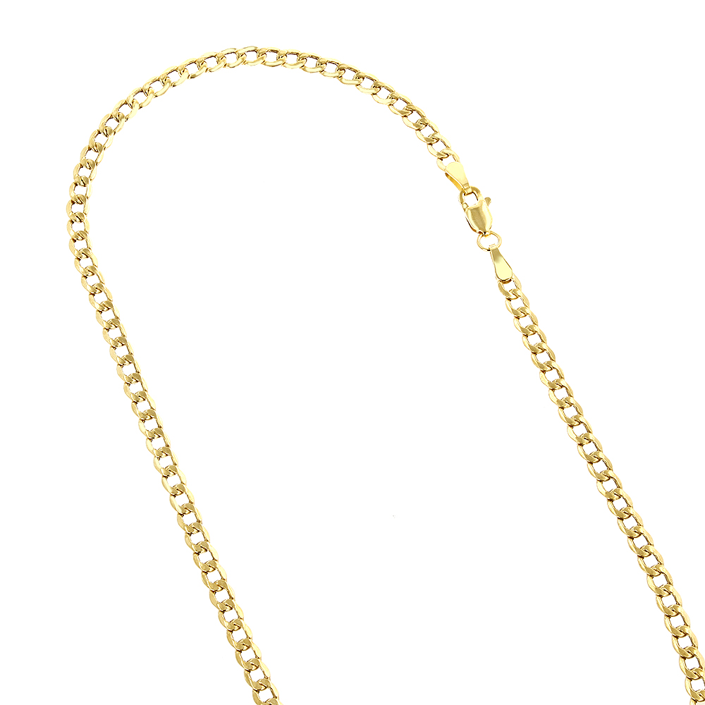 Hollow 14k Gold Curb Chain For Men & Women 4.5mm Wide Yellow Image