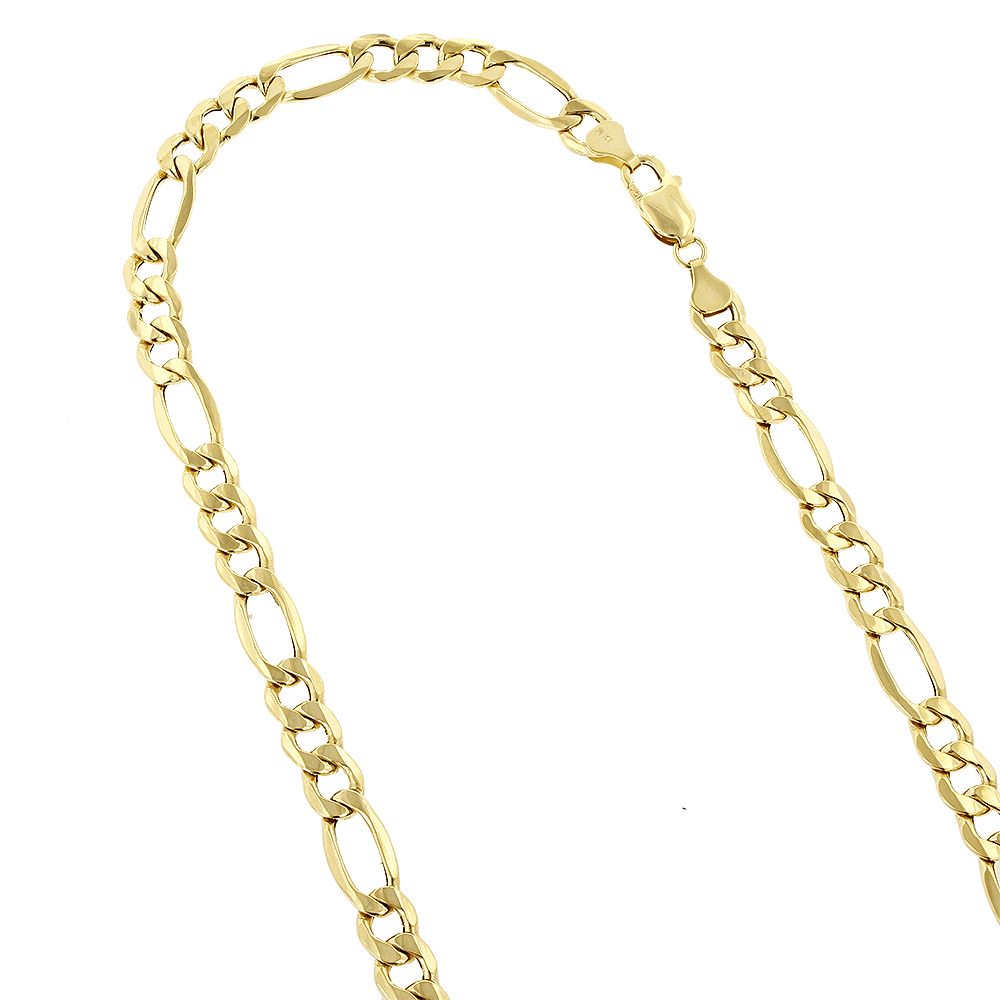 Hollow 14k Gold Figaro Chain For Men & Women 6.5mm Wide Yellow Image