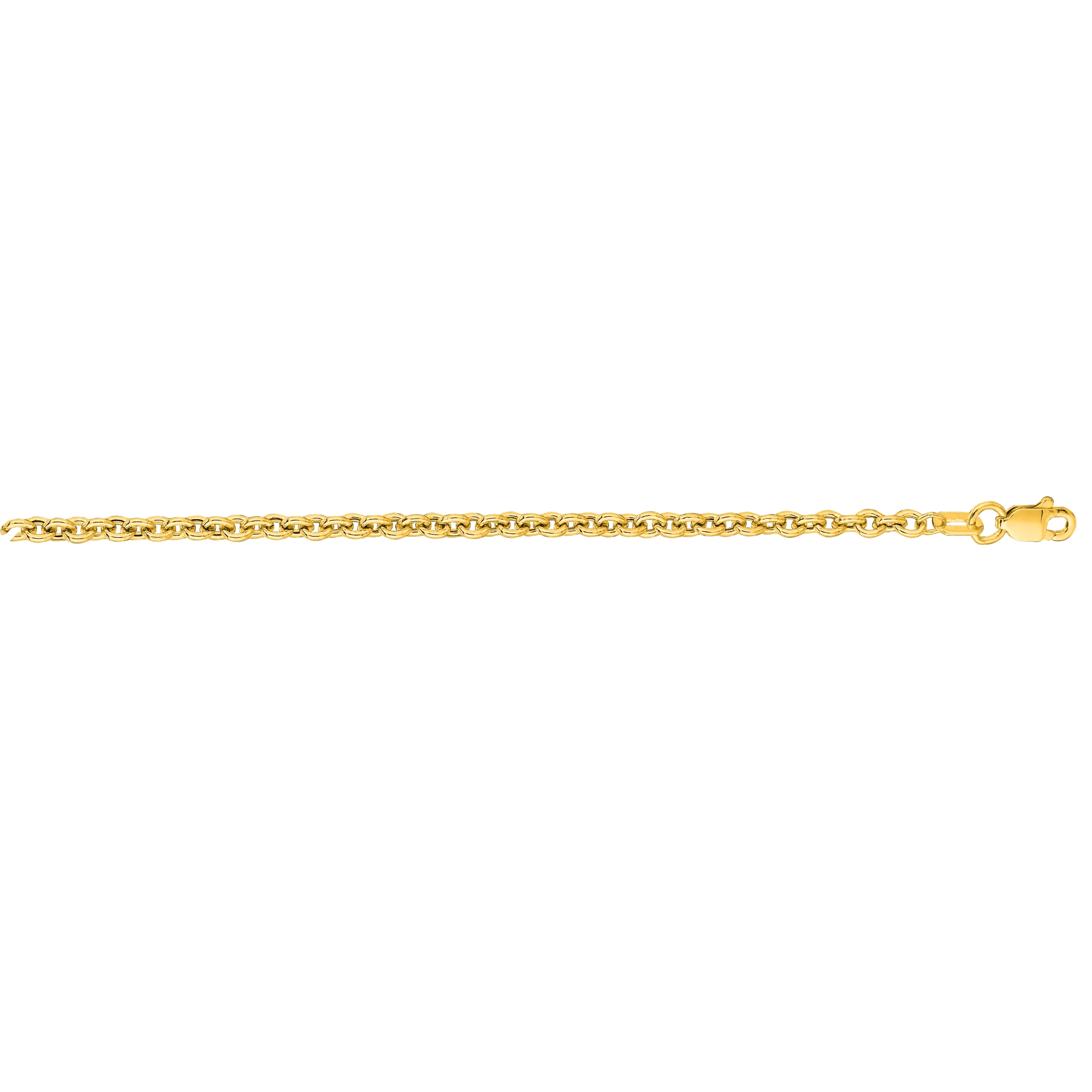 Hollow 14k Gold Forsantina Chain For Men & Women 3mm Wide Yellow Image