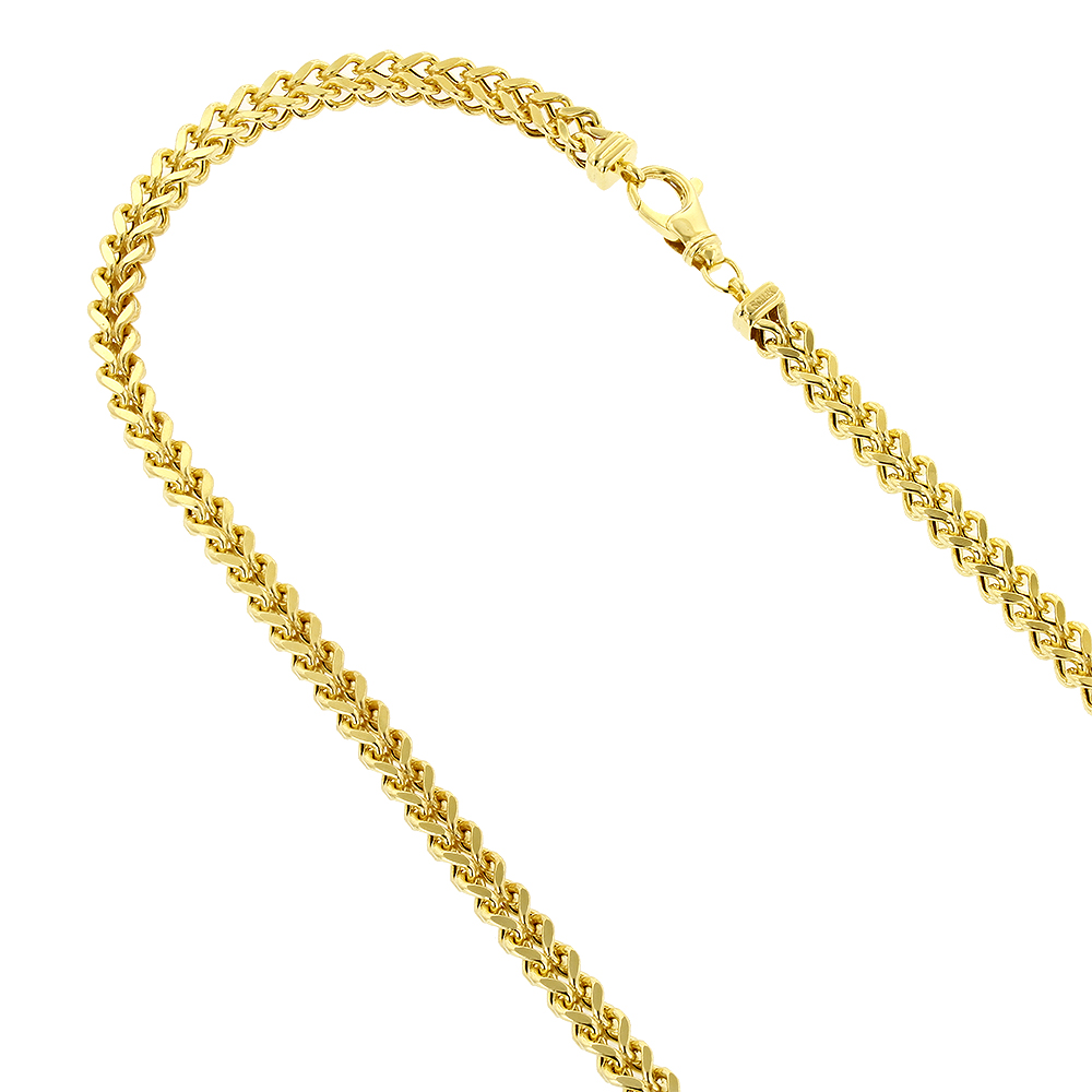Hollow 14k Gold Franco Chain For Men Square 4mm Wide Yellow Image