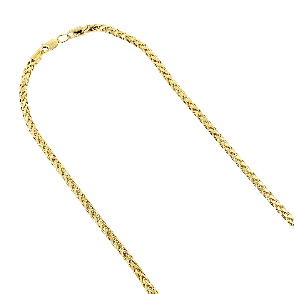 Hollow 14k Gold Franco Chain For Men & Women Round Diamond Cut 3mm