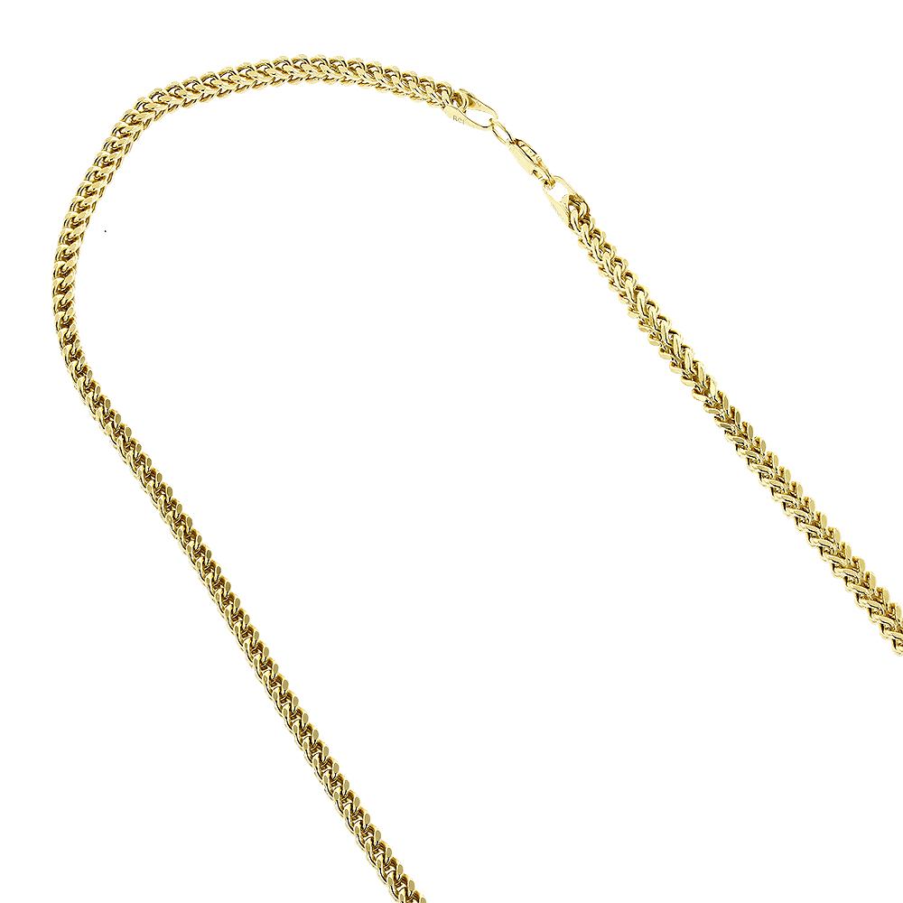 Hollow 14k Gold Franco Chain For Men & Women Square 3mm Wide Yellow Image