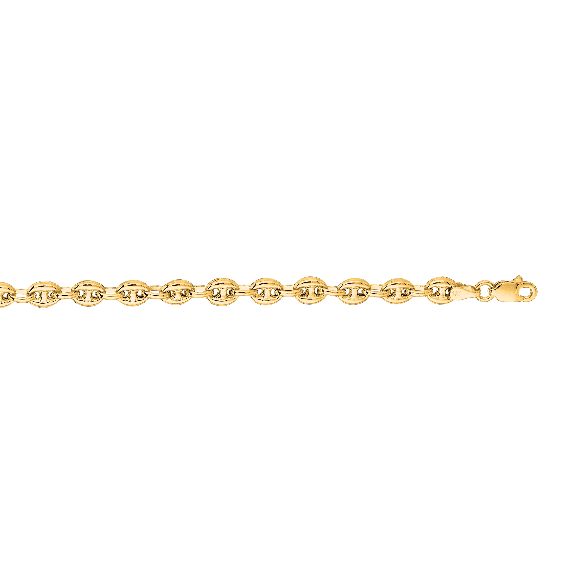 Hollow 14k Gold Gucci Chain For Men & Women Mariner Puffed 4.5mm Wide Yellow Image