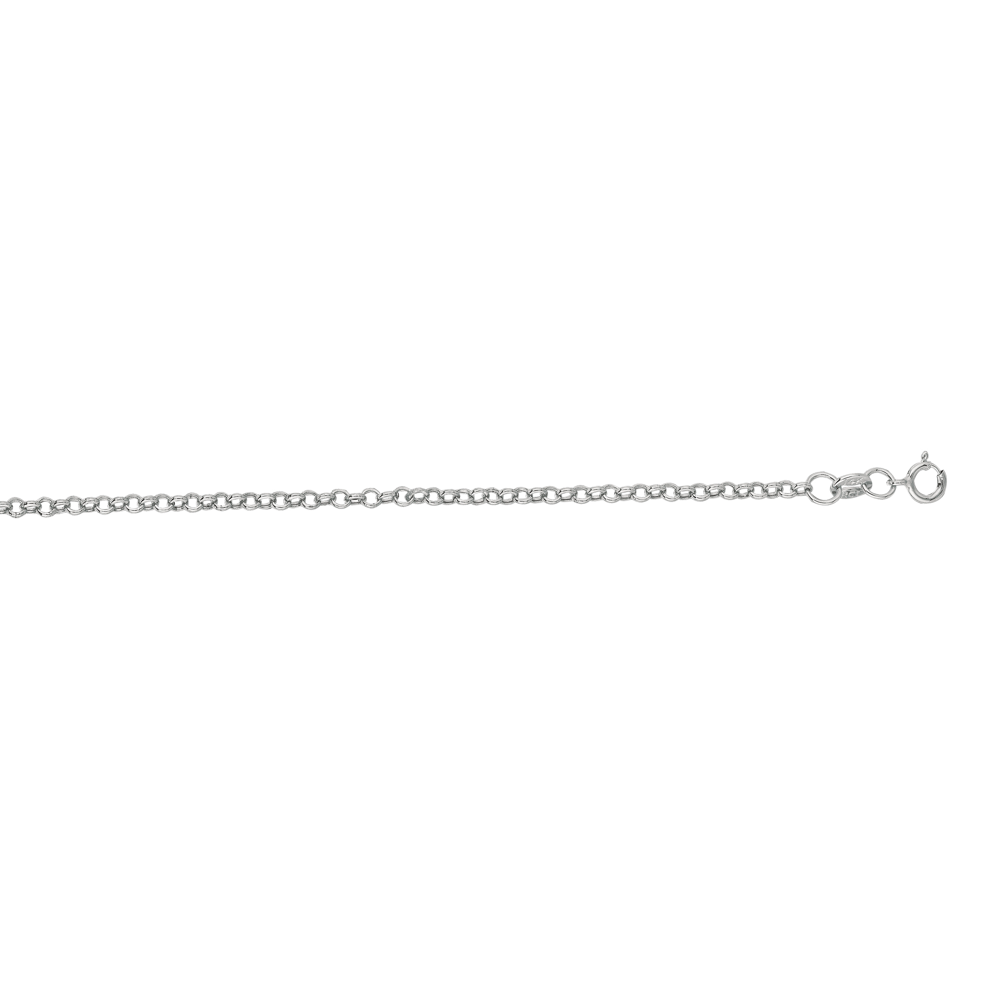 Hollow 14k Gold Rolo Chain For Men & Women 2mm Wide White Image