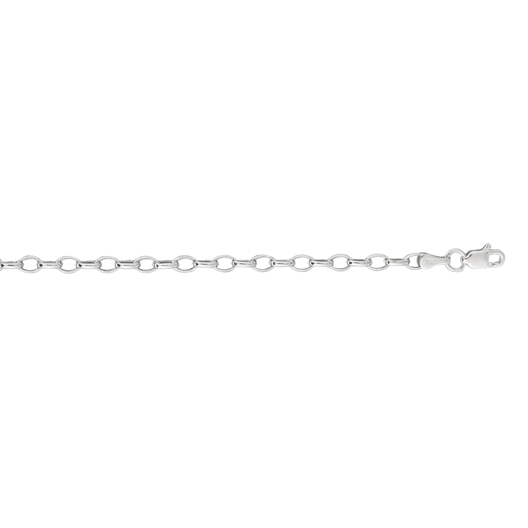 Hollow 14k Gold Rolo Chain For Women Oval 3mm Wide White Image