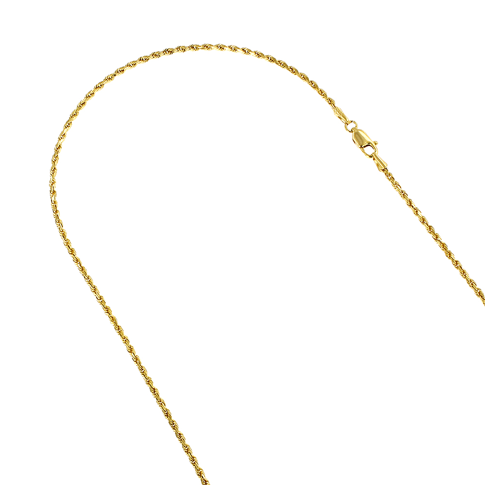 Hollow 14k Gold Rope Chain For Men & Women 1.5mm Wide Yellow Image