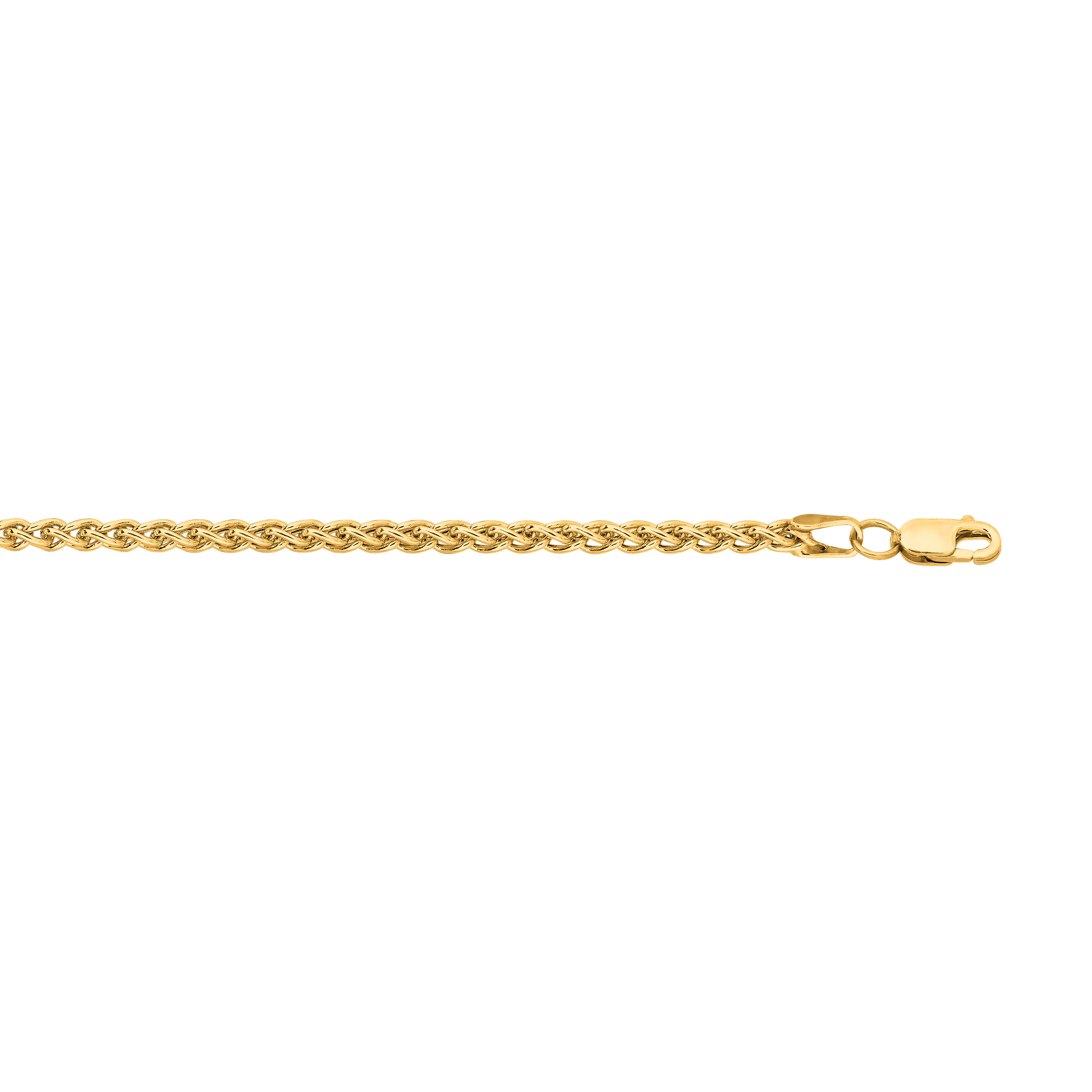 Hollow 14k Gold Wheat Chain For Men & Women 2.8mm Wide Yellow Image