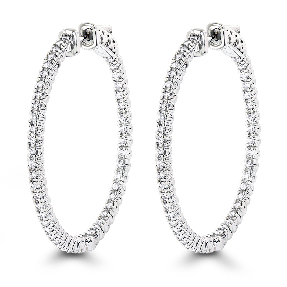 1.5in 14K Gold Diamond Hoop Earrings Inside Out 1ct by Luxurman White Image