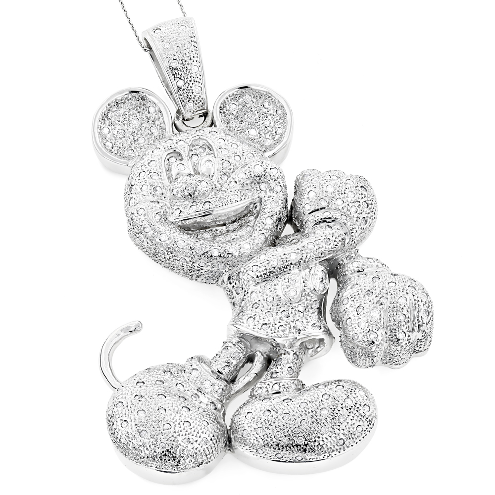 Huge 10K Diamond Mickey Mouse Pendant 4ct White Image