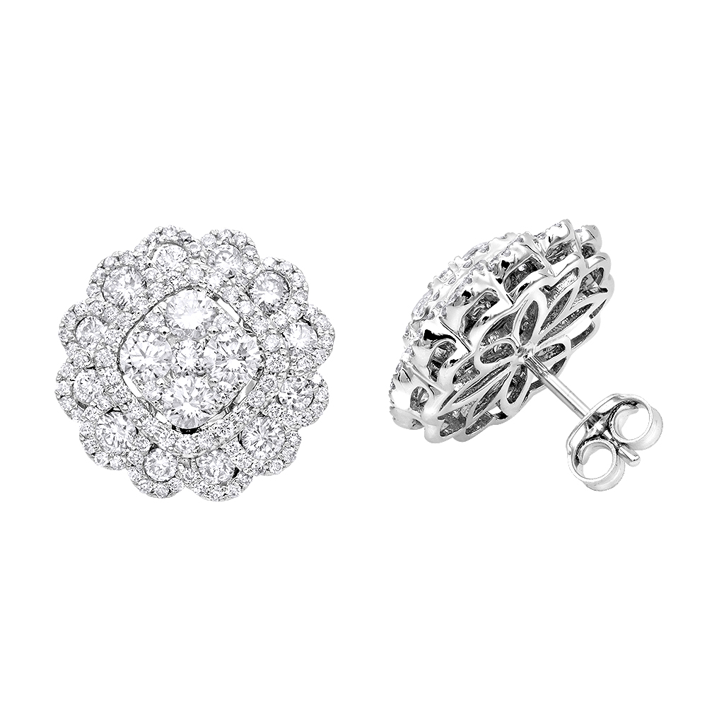 Huge 3 Carat Designer Diamond Stud Earrings For Women Cluster Flower Design White Image
