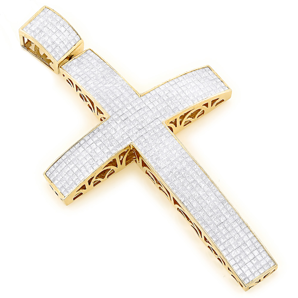 Huge princess cut invisible set diamonds cross pendant for men 28ct aloadofball Choice Image