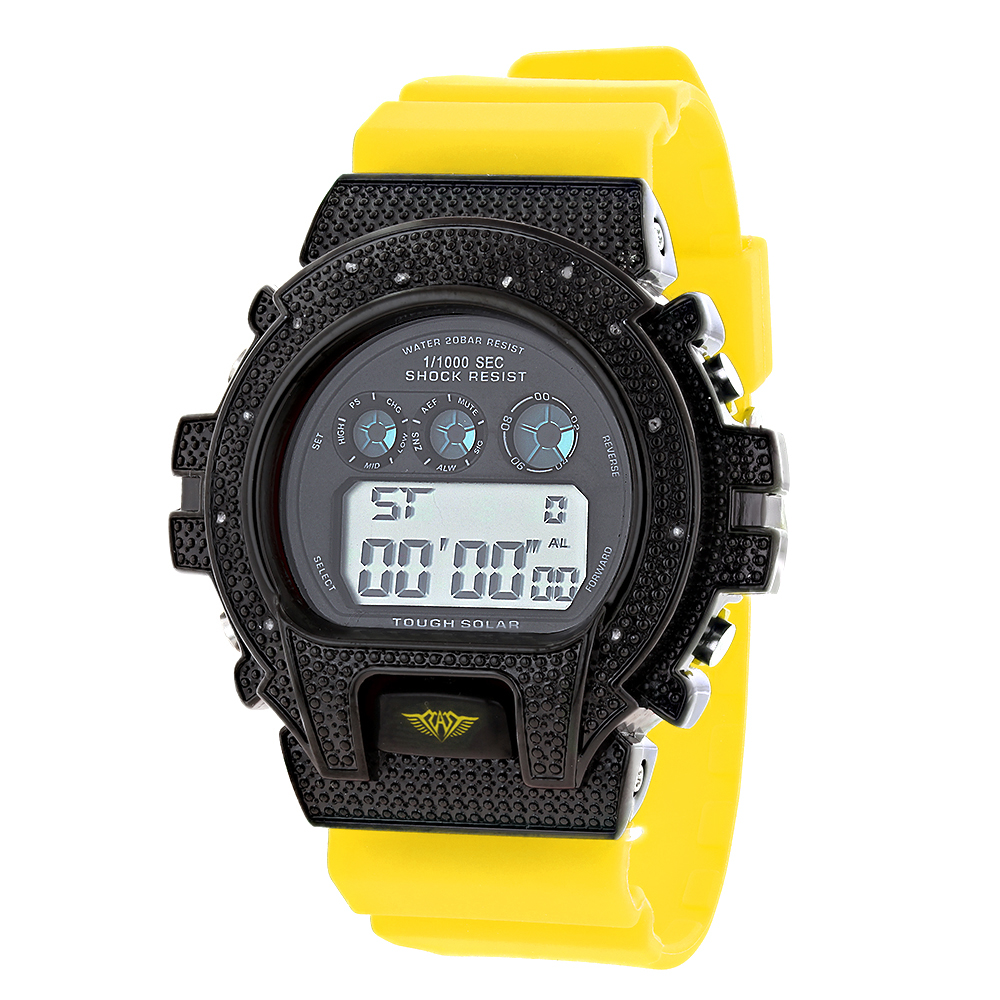 Yellow Band Ice Plus Mens Diamond Watch 0.12ct G-Shock Watch Style Main Image