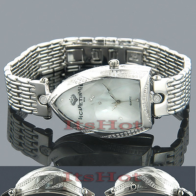 Unique Diamond Watches for Women: IceTime Faceted Glass Watch White MOP 1ct Main Image