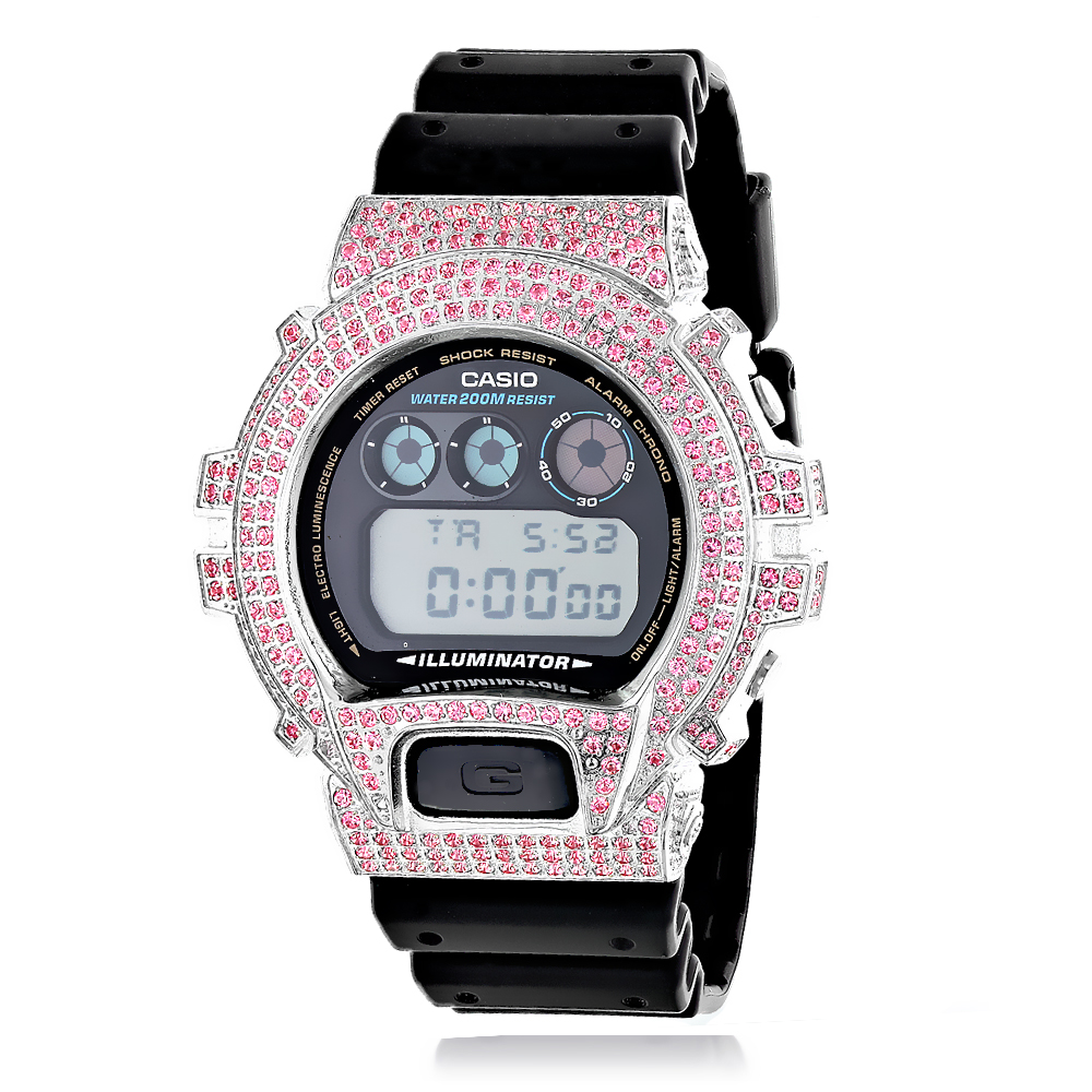 Iced Out Casio Watches: G-Shock Pink CZ Crystal Watch DW6900 iced-out-casio-watches-g-shock-pink-cz-crystal-watch-dw6900_1