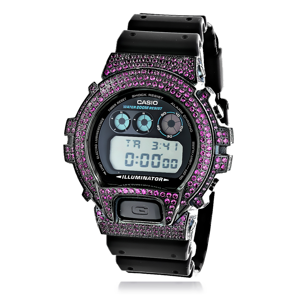 Iced Out Casio Watches: G-Shock Purple CZ Crystal Watch DW6900
