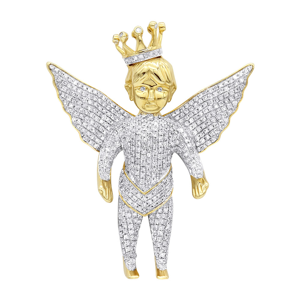 Iced Out Crowned Angel Pendant with Diamonds in 10K Gold 1.5ct