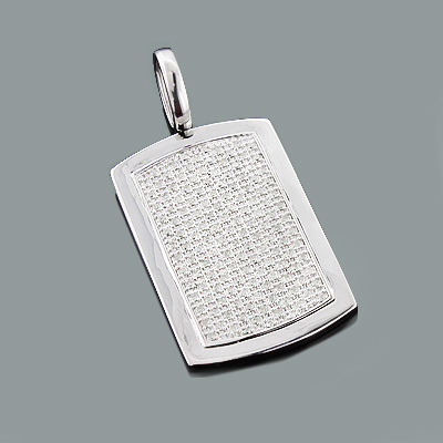 Iced Out Diamond Dog Tag Pendant 1.99ct Sterling Silver
