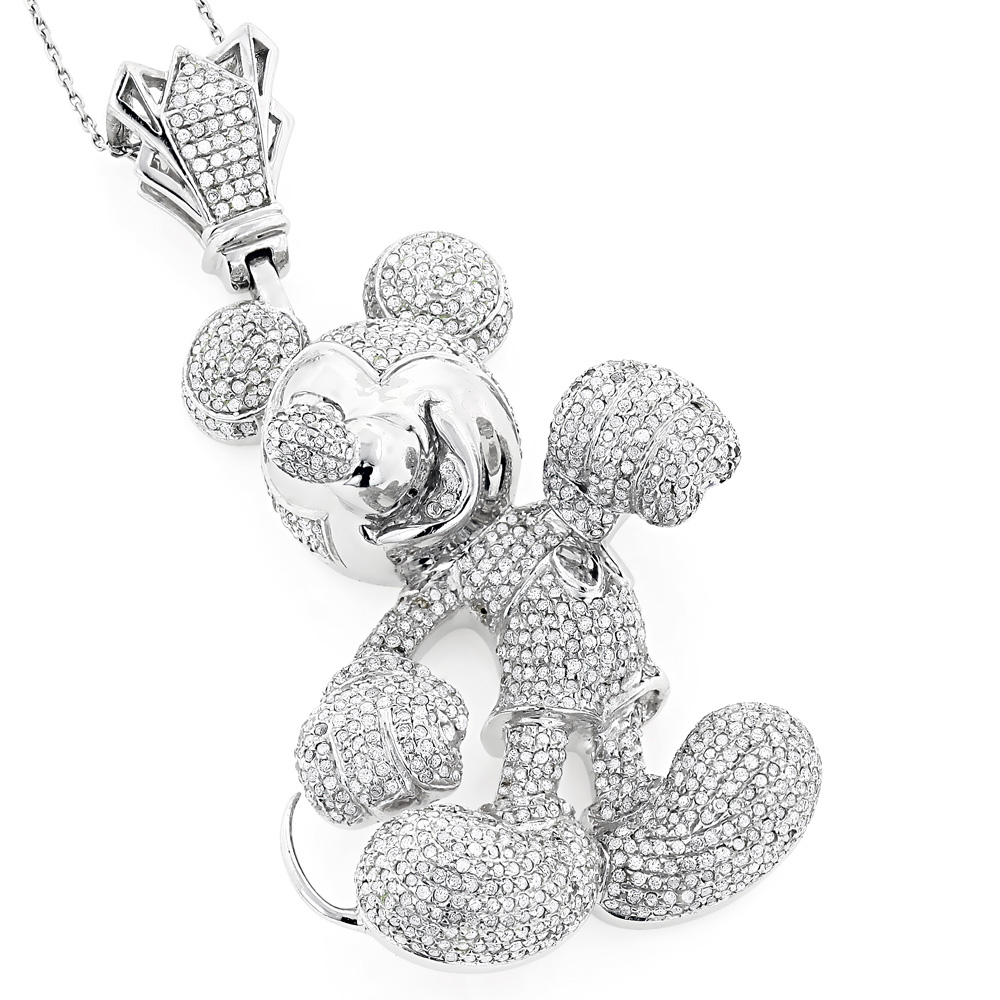 Iced Out Diamond Mickey Mouse Pendant 5.80ct 10K Gold  White Image
