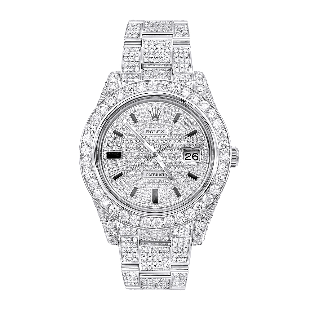 Iced Out Diamond Rolex Watch For Men Datejust With Diamond Bezel Face 20c