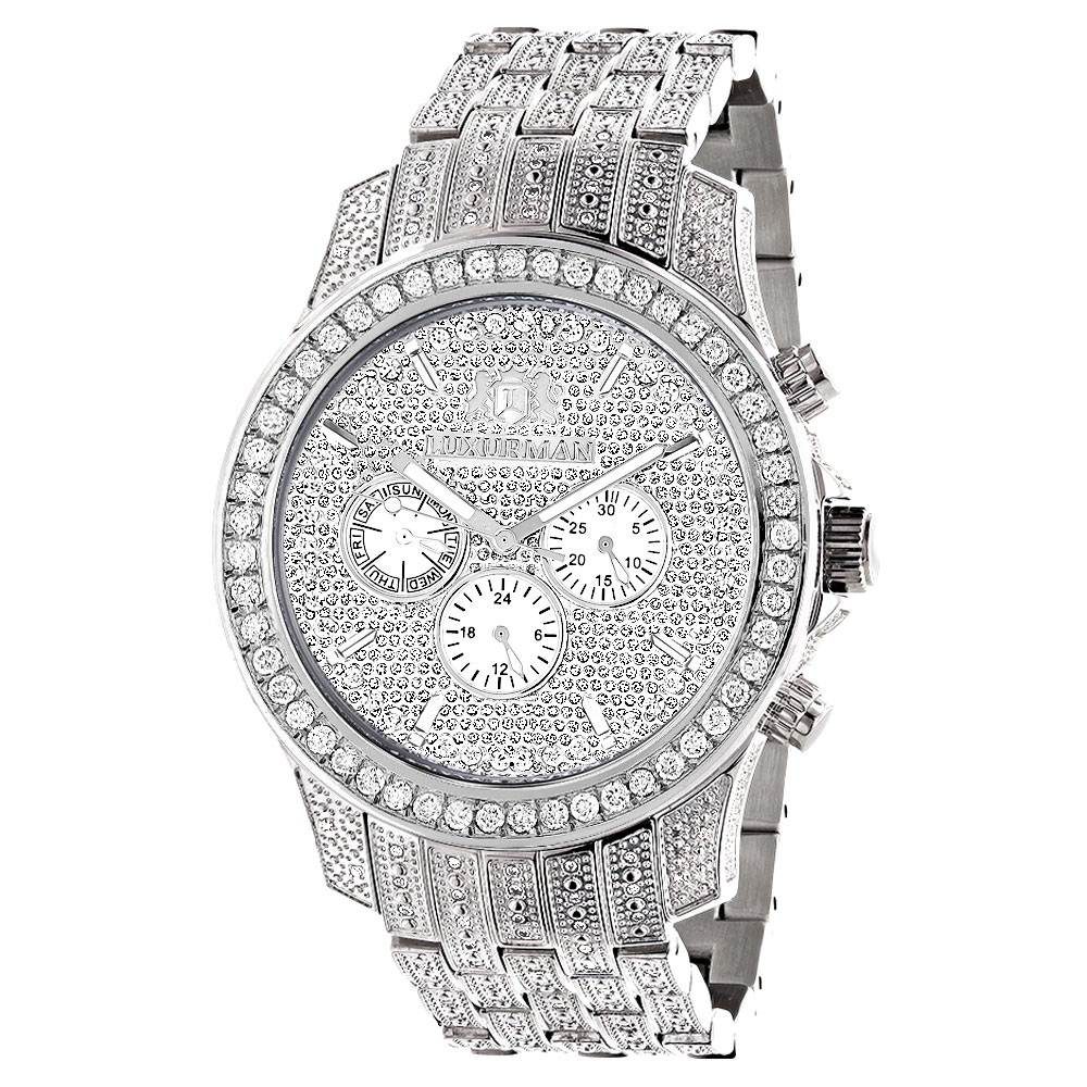 Bust Down Watches Fully Iced Out Luxurman Mens Diamond Watch 4 Carat Raptor Main Image