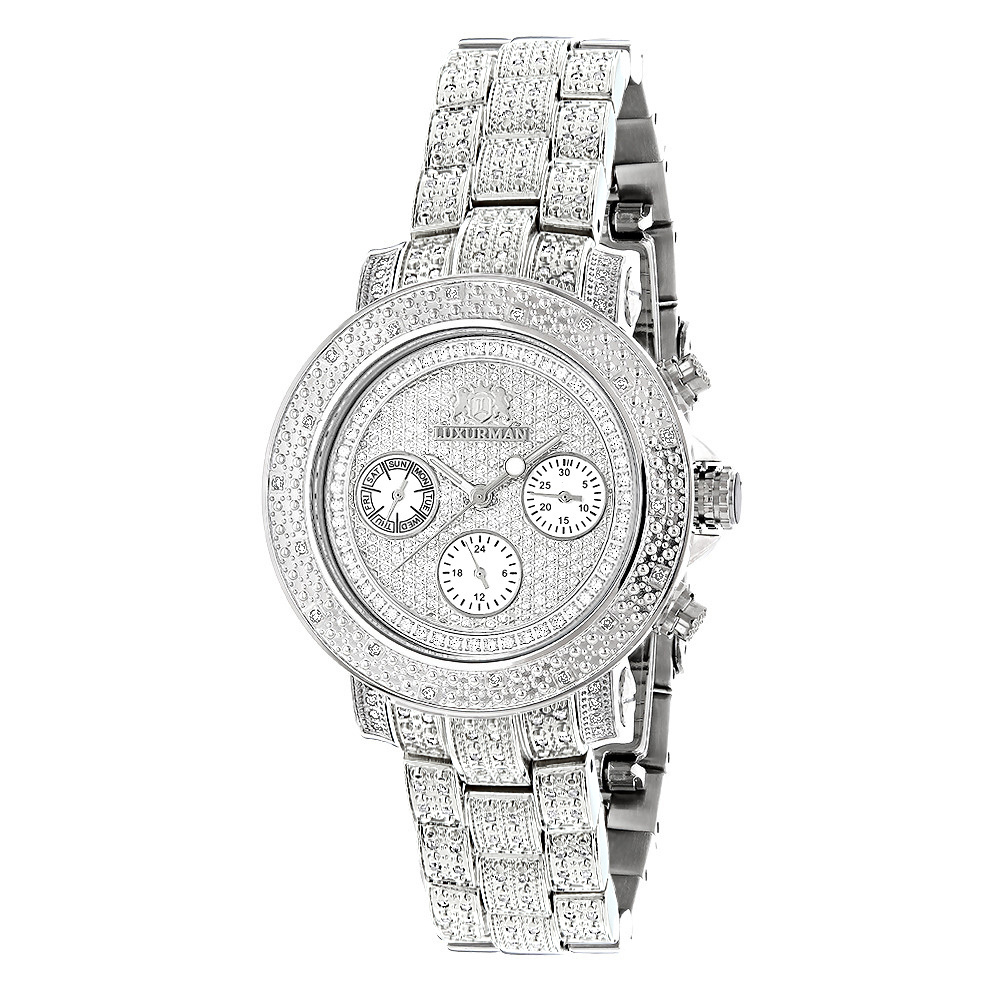 Iced Out Diamond Watches 1.5ct Luxurman Montana Diamond Watch For Women Main Image