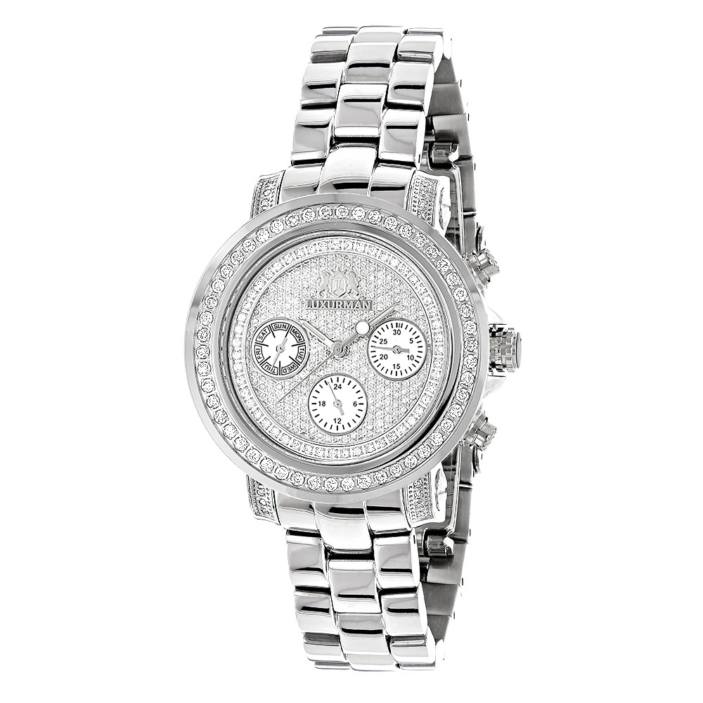 Iced Out Diamond Watches For Women 2ct Luxurman Montana Diamond Watch Main Image