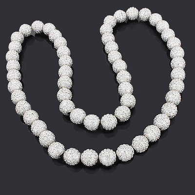 Iced Out Disco Ball Necklace with Dazzling White Crystal Beads