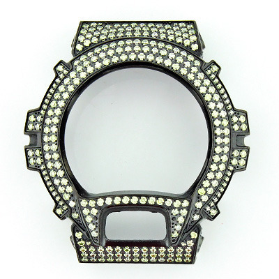 Iced Out G-Shock Bezels: Black Steel with Citron Crystals