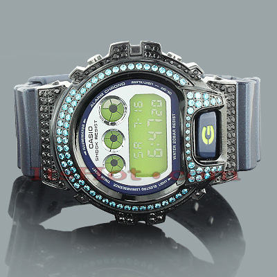 Iced Out G-Shock Watch Blue CZ Crystals DW6900 Iced Out G-Shock Watch Blue CZ Crystals DW6900