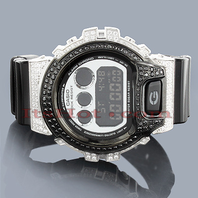 Iced Out G-Shock Watch: White Black Crystals DW-6900 Main Image