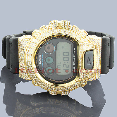 14bf106f96f ICED OUT G-SHOCK Watch White CZ Crystals Casio DW6900 Main Image