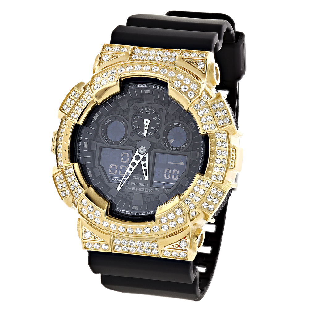 ICED OUT G-SHOCK Watch White CZ Crystals Casio GA100 Main Image