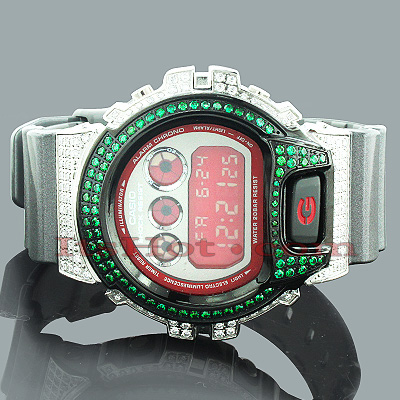 Iced Out G Shock Watch with Green Crystals 5ct