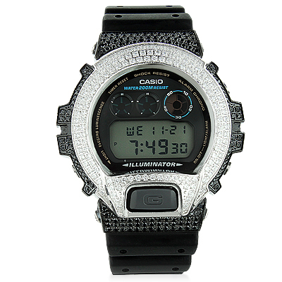Iced Out G-Shock Watch with White and Black Crystals DW-6900