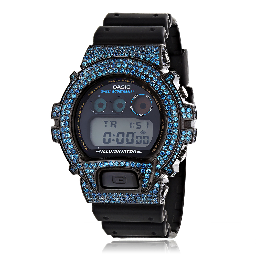 Iced Out G-Shock Watches: Casio Blue CZ Crystal Watch DW6900 iced-out-g-shock-watches-casio-blue-cz-crystal-watch-dw6900_1