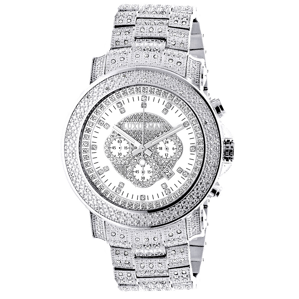 Iced Out Luxurman Diamond Watch with Chronograph 2ct Escalade Main Image
