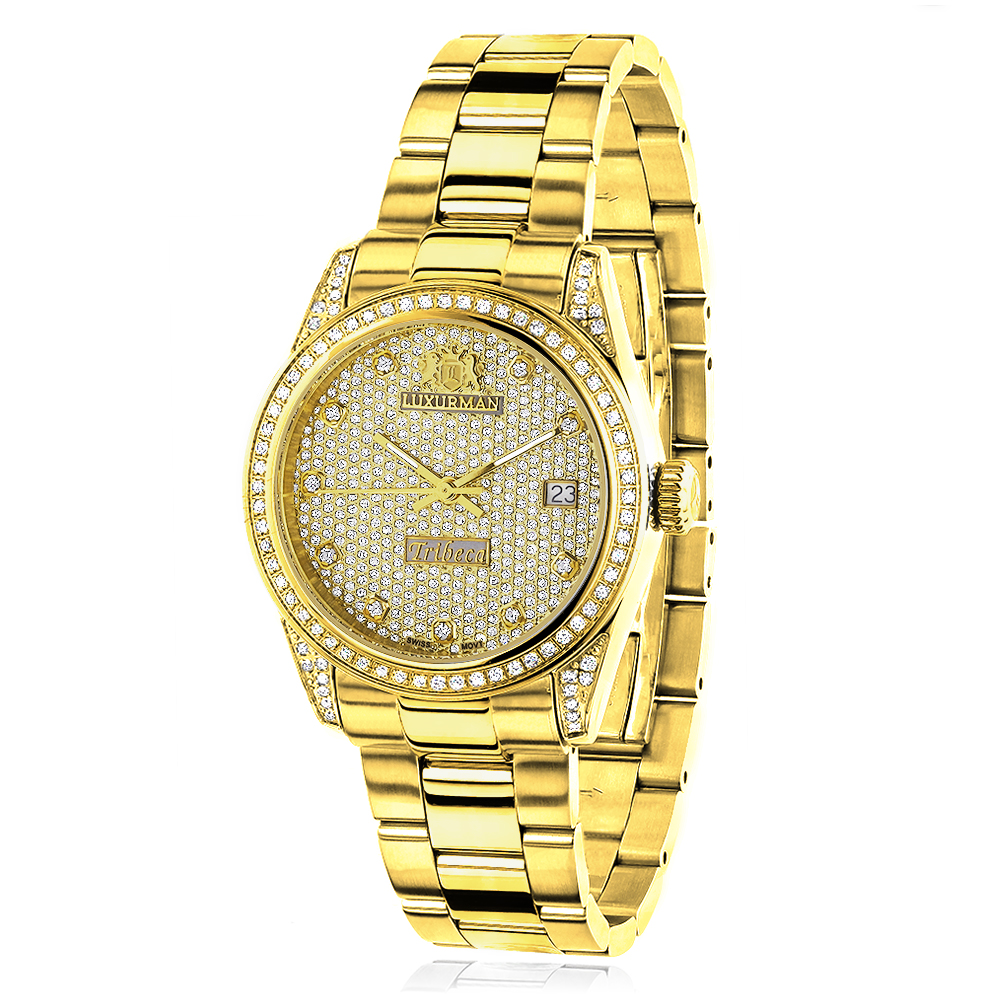 Iced Out Luxurman Ladies Diamond Yellow Gold Plated Watch 1.5ct Tribeca Main Image