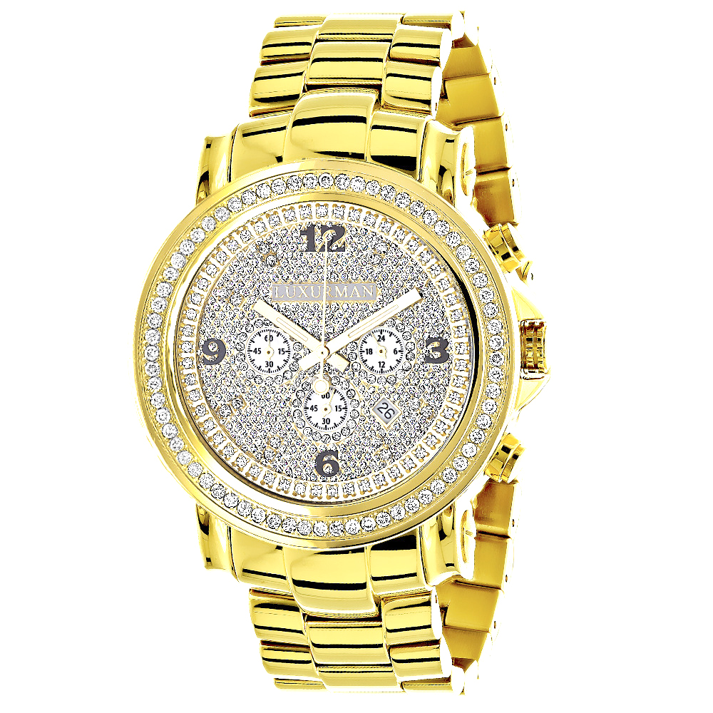 Iced Out Luxurman Large Diamond Bezel Watch for Men Yellow Gold Plated 2.5ct Main Image