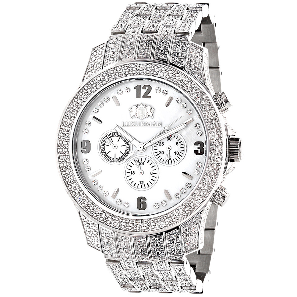 Iced Out Luxurman Mens Diamond Watch 1.25ct White MOP