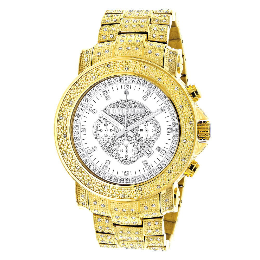 Iced Out Luxurman Mens Diamond Watch w Chronograph Yellow Gold Plated 2ct Main Image