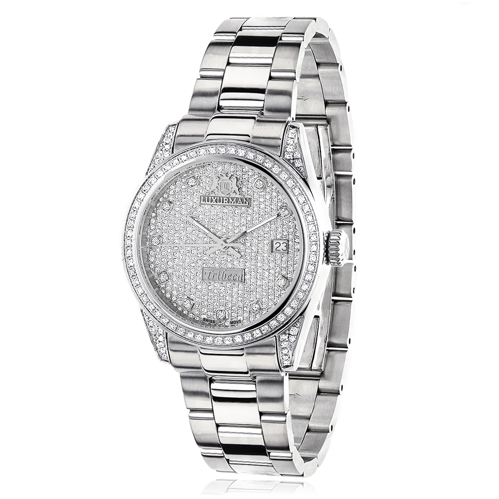Iced Out Luxurman Women's Diamond Watch Tribeca 1.5ct Main Image