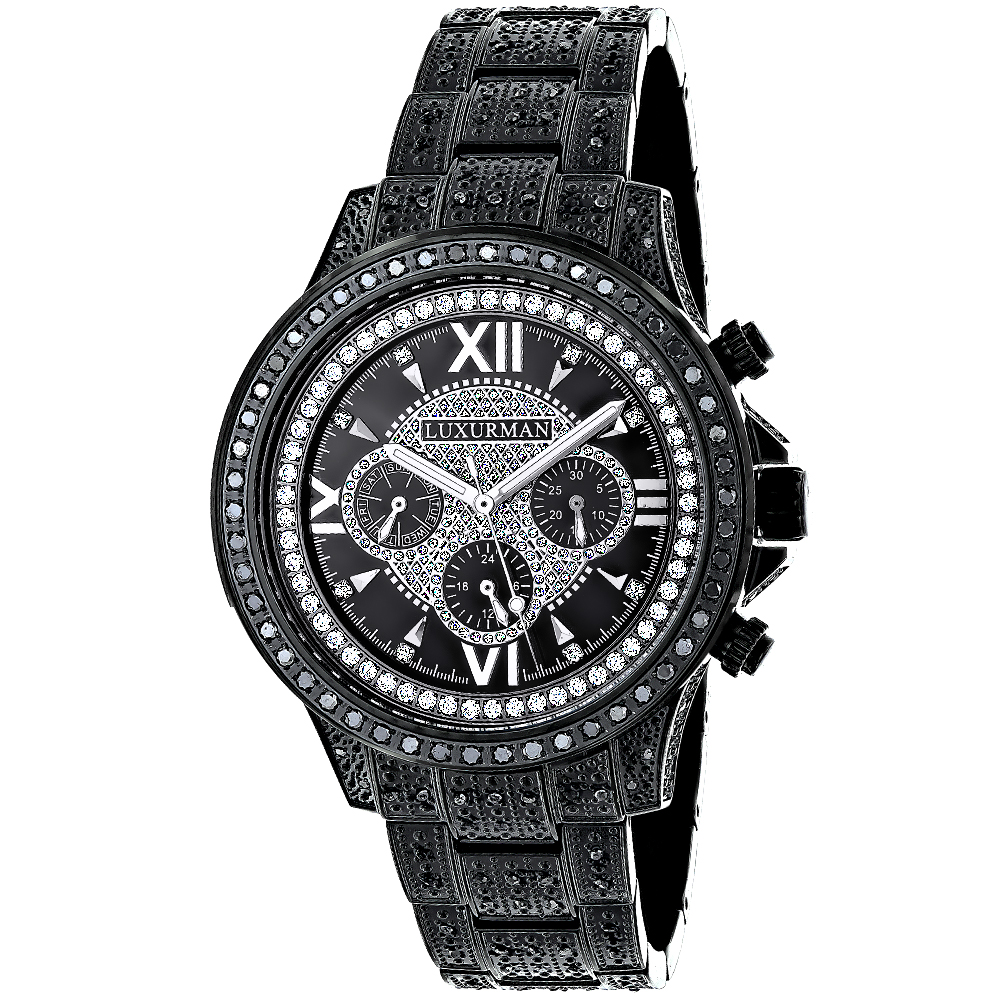 Iced out mens black diamond luxurman watch 3ct for Watches diamond