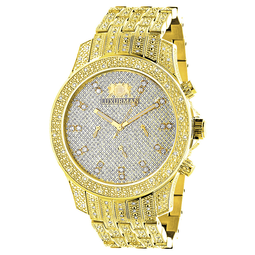Iced Out Mens Diamond Luxurman Watch 1.25ct Yellow Gold Tone Main Image