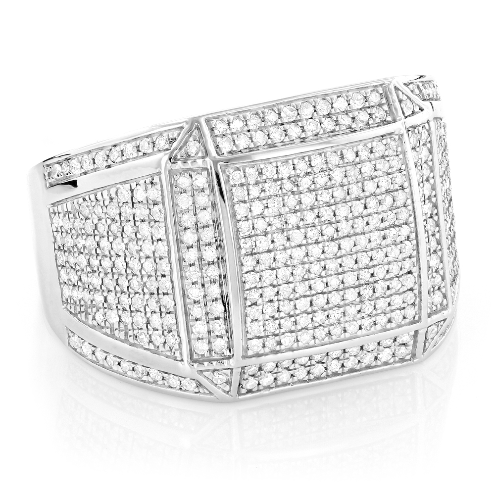 Iced Out Mens Diamond Ring 1.15ct 10K Gold Hip Hop Jewelry